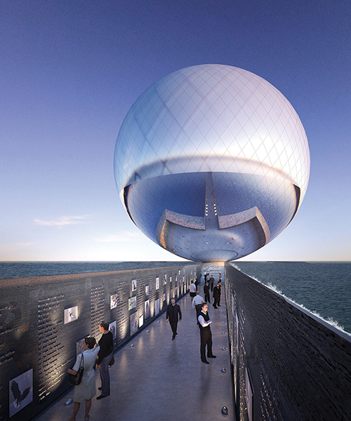 clear orb sculpture provides energy and drinkable water for the city of santa monica